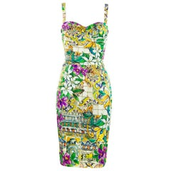 Dolce & Gabbana Printed Silk Sheath Dress- Size IT 40