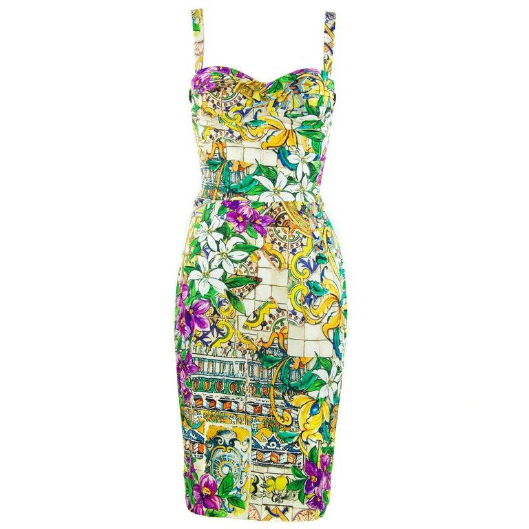 Dolce & Gabbana Printed Silk Sheath Dress- Size IT 40