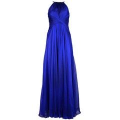 Carmen Marc Valvo NWT Royal Blue Silk Dress w/ Black Beaded Neckline Sz 2