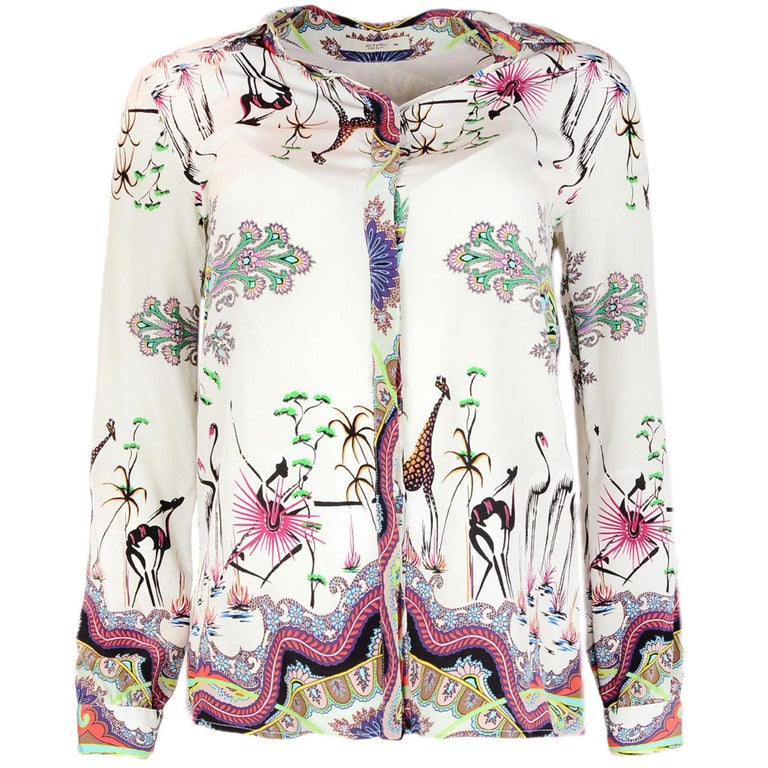 Etro Zoo Print Silk Button Up Blouse Top Sz 40