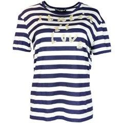"Dolce & Gabbana Navy/White Stripe Sequin ""Italia Is Love"" T-shirt Sz 42 rt. $398"