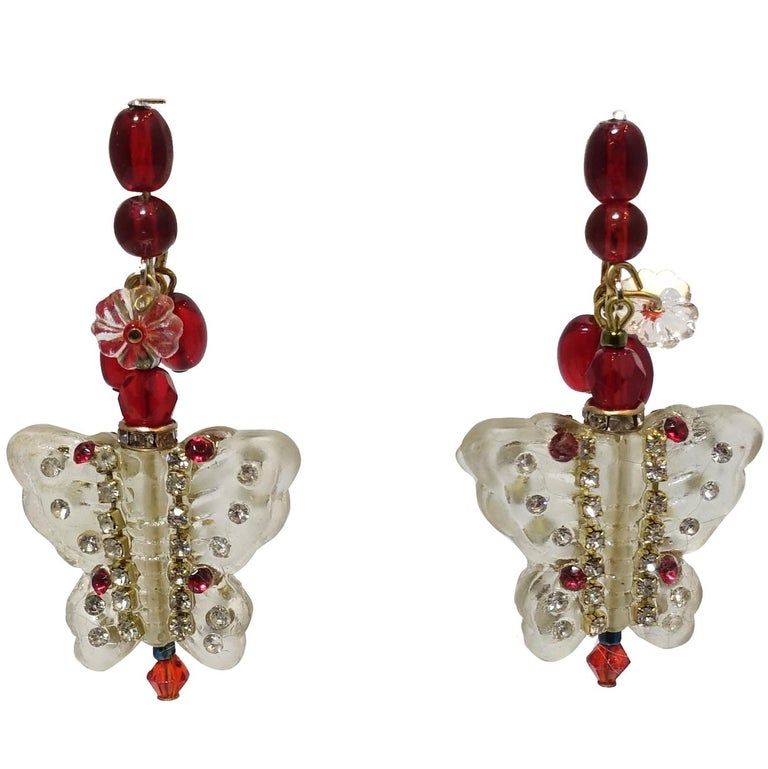 Vintage 1950s Lucite & Crystals Butterfly Drop Earri For Sale