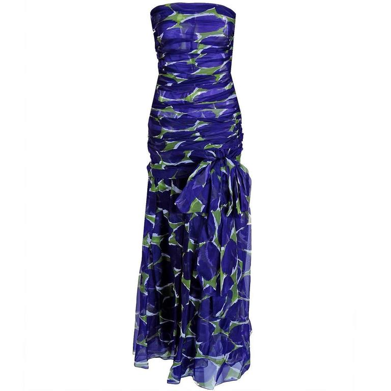 1979 Yves Saint Laurent Purple & Green Abstract Ruched-Silk Strapless Gown