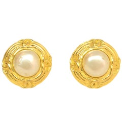 Chanel '93 Vintage Goldtone Circle CCs And Center Faux Pearl Clip On Earrings