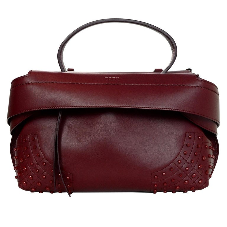 93e5340c21 Tod's Burgundy Leather Small Wave Top Handle Shoulder Bag For Sale ...