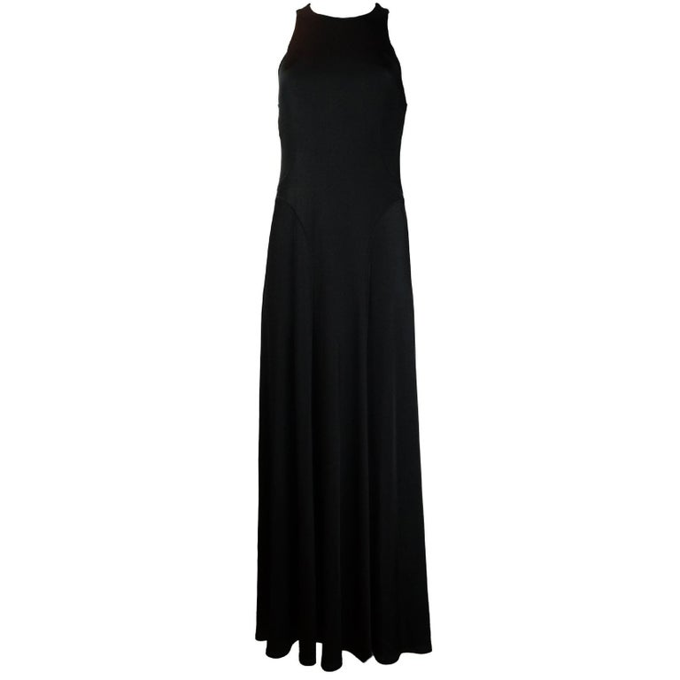 The Row Black Jersey Scuba / Bodycon Stretchy Sleeveless Gown Dress
