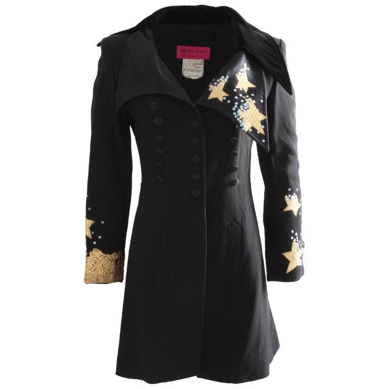 Christian Lacroix Stars and Sequins Black Structured Gabardine Velvet Jacket