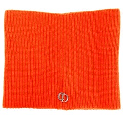 Christian Dior 2018 Unisex Bright Neon Orange Wool Neck Warmer NWT rt. $450