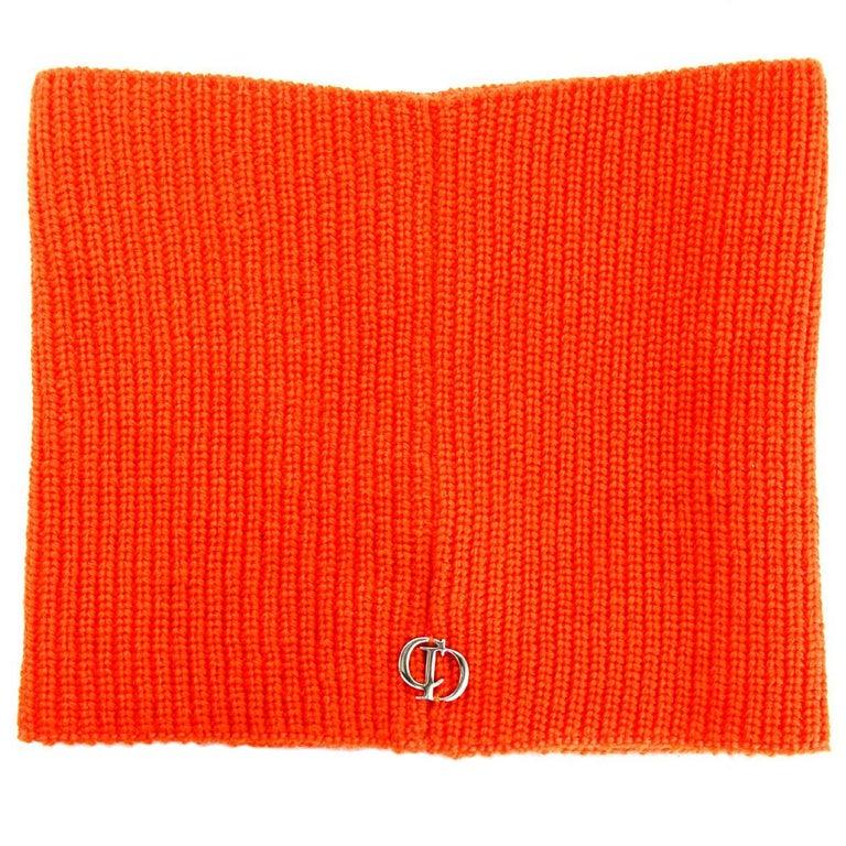 Christian Dior 2018 Unisex Bright Neon Orange Wool Neck Warmer NWT rt. $450