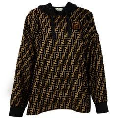 Fendi '18 SOLD OUT Velvet Logo Monogrammed Hooded Top Sweatshirt Sz 48 rt $2,590