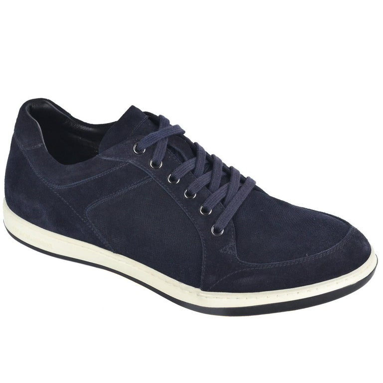 7aeb9b5a8e61a8 Giorgio Armani Mens Navy Blue Suede Lace Up Sneakers For Sale at 1stdibs