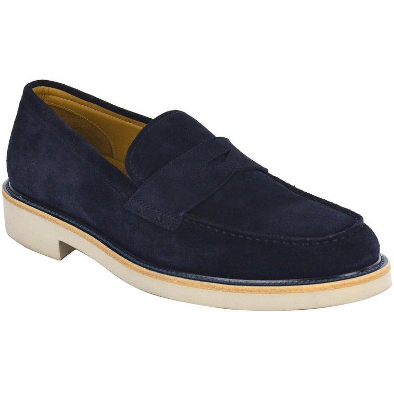 3e35cde2818 Giorgio Armani Mens Navy Suede Penny Bar Leather Loafers For Sale at ...