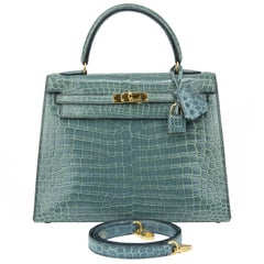 Hermes Blue Jean Crocodile with Gold Hardware Kelly Sellier 25cm Bag