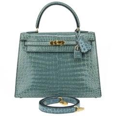 Hermes Kelly Sellier Tasche 25cm Blue Jeans Krokodil mit Golddetails
