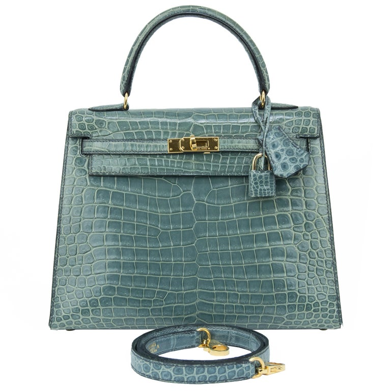 Hermes Kelly 25cm Blue Jean Crocodile Sellier Bag GHW For Sale