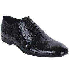 Giorgio Armani Mens Black Croc Embossed Patent Leather Derbys