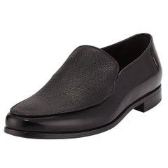 Giorgio Armani Mens Black Saffiano Leather Venetian Loafers