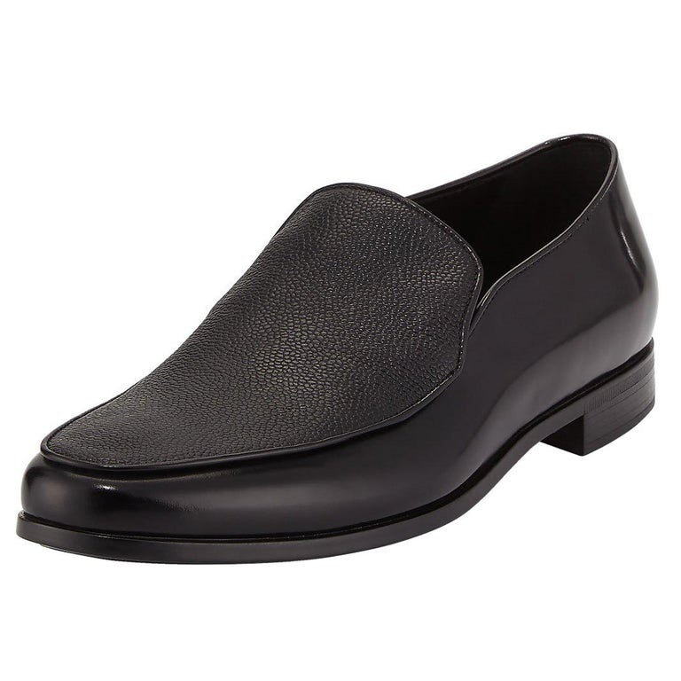 836495bc0dc Giorgio Armani Mens Black Saffiano Leather Venetian Loafers For Sale ...