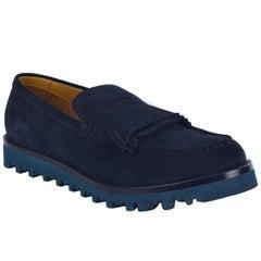 Giorgio Armani Mens Navy Suede Kiltie Platform Loafers