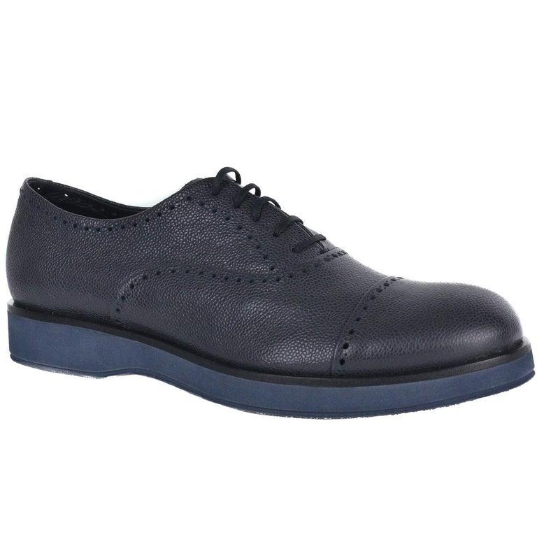 0756fc898d38 Giorgio Armani Mens Dark Grey Leather Perforated Oxfords Shoes For Sale