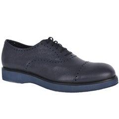 Giorgio Armani Mens Dark Grey Leather Perforated Oxfords Shoes
