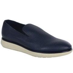 Giorgio Armani Mens Navy Blue Textured Slip on Sneakers