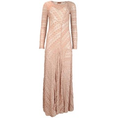 Missoni Pink Rose Gold Sparkle Knit Lace Long Sleeved Maxi Dress