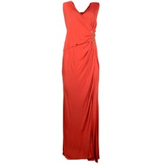 Roberto Cavalli Orange Goldtone Side Snake Detail Jersey Gown sz IT48