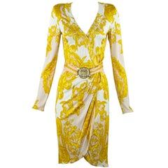 Versace White / Gold / Light Pink Silk Jersey Wrap Dress
