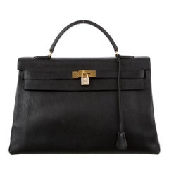 Hermes Kelly 40 Black Leather Top Handle Satchel Carryall Tote Bag