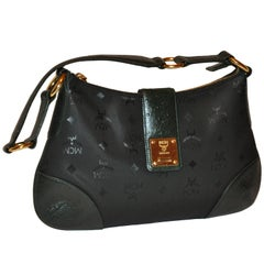 MCM Black Signature Monogram with Embossed Forest Green Ostrich Shoulder Bag