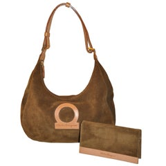 Ferragamo Autumn Tan Lambskin Suede Shoulder Bag with Matching Wallet Ensemble