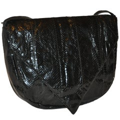 """Huge Black Snakeskin with Black Calfskin Accent """"Flap-Over"""" Shoulder Bag"""