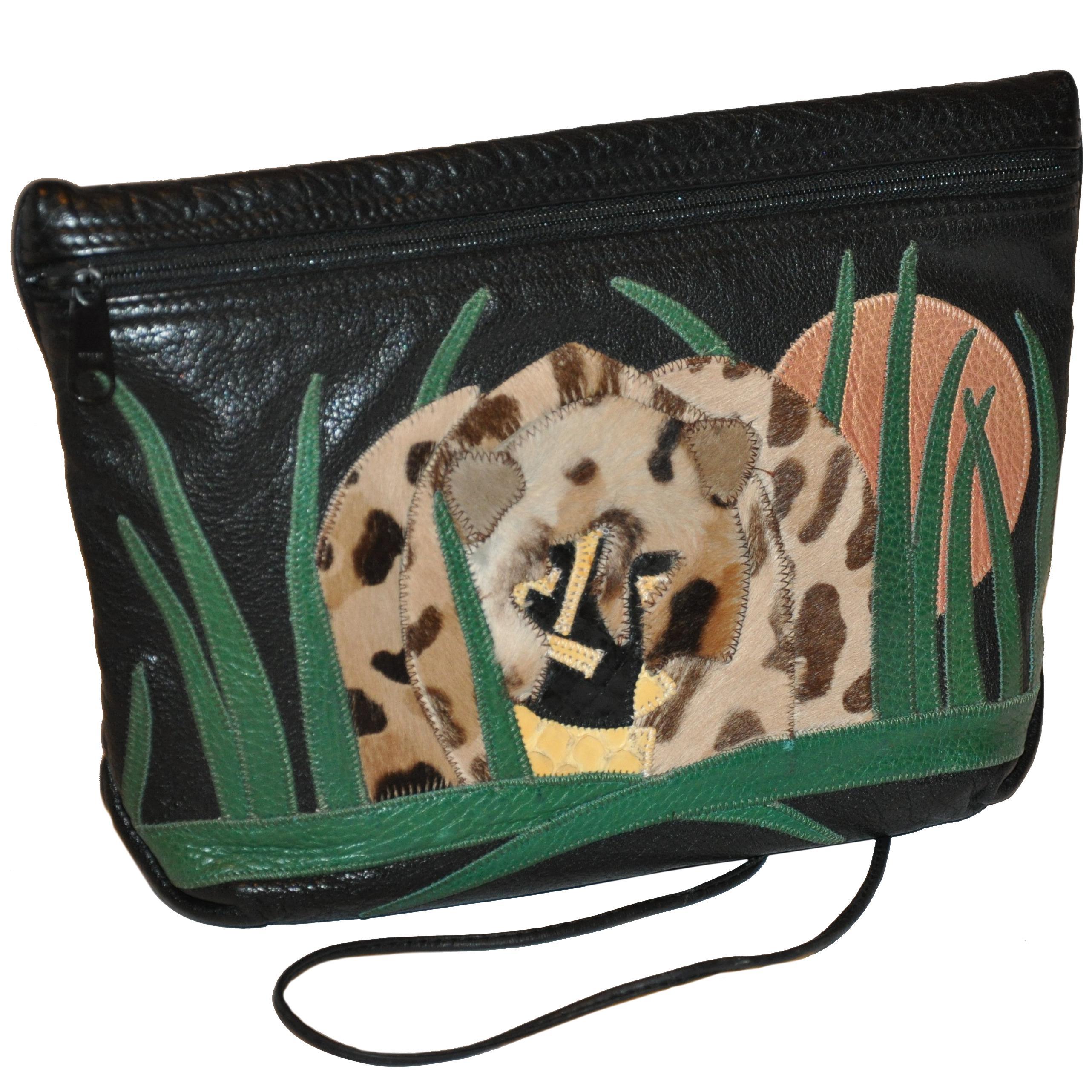 "Carlos Falchi Textured Calfskin Zippered Patchwork ""Jungle"" Scene Shoulder Bag"