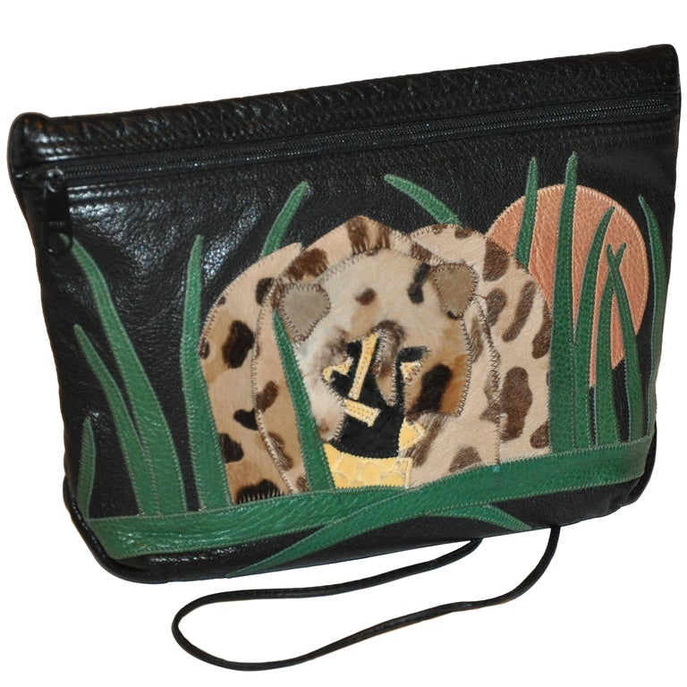 "Carlos Falchi Textured Calfskin Zippered Patchwork ""Jungle"" Scene Shoulder Bag"