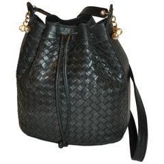 Siso Deep Navy-Black Woven Lambskin Drawstring with Gold Hardware Shoulder Bag