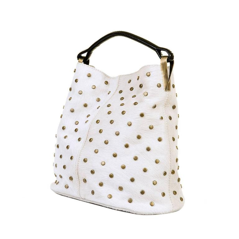 WOW ! Kenzo White-Fur Jumbo Tote, with Bronze Studwork - 'Ayoub' Collection 1