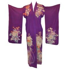 "Deep Rich Violet ""Festival of Florals"" Japanese Silk Kimono"