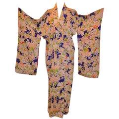 Bold Multi-Color Festive Multi-Floral Japanese Silk Kimono