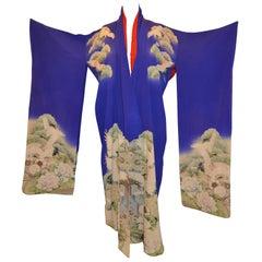 """Lapis Blue """"Heaven and Earth Cranes in Flight"""" Silk Kimono"""
