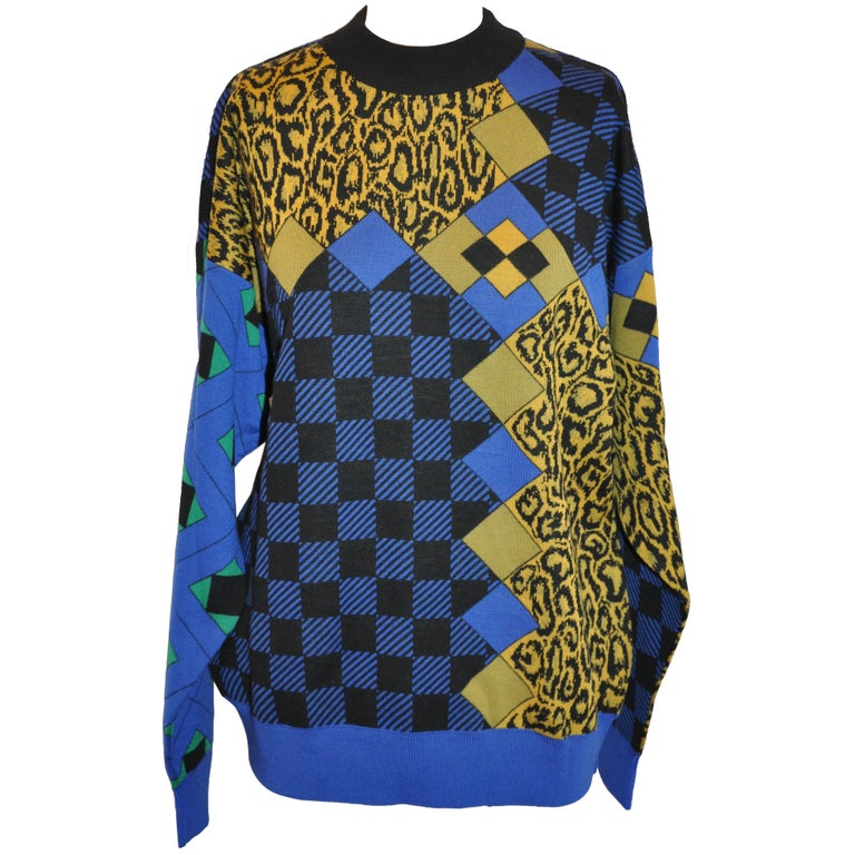"""Gianni Versace Men's Multi-Color """"Color Block Abstract & Leopard"""" Pullover"""
