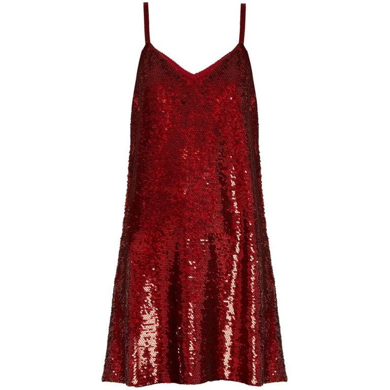 Ashish V-Neck Sequin-Embellished Mini Dress For Sale
