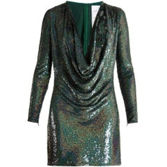 Ashish Sequin-Embellished Draped-Front Silk Mini Dress