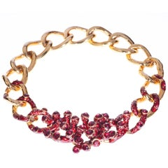 Simon Harrison Coral Red Enamel & Crystal Gold Plated Necklace
