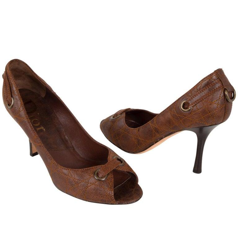 398ba114e8 Christian Dior Shoe Pump Quilt Stitch Open Toe 39 / 9 For Sale at ...