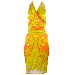 Versace Pink Orange Gold Silk Halter Dress