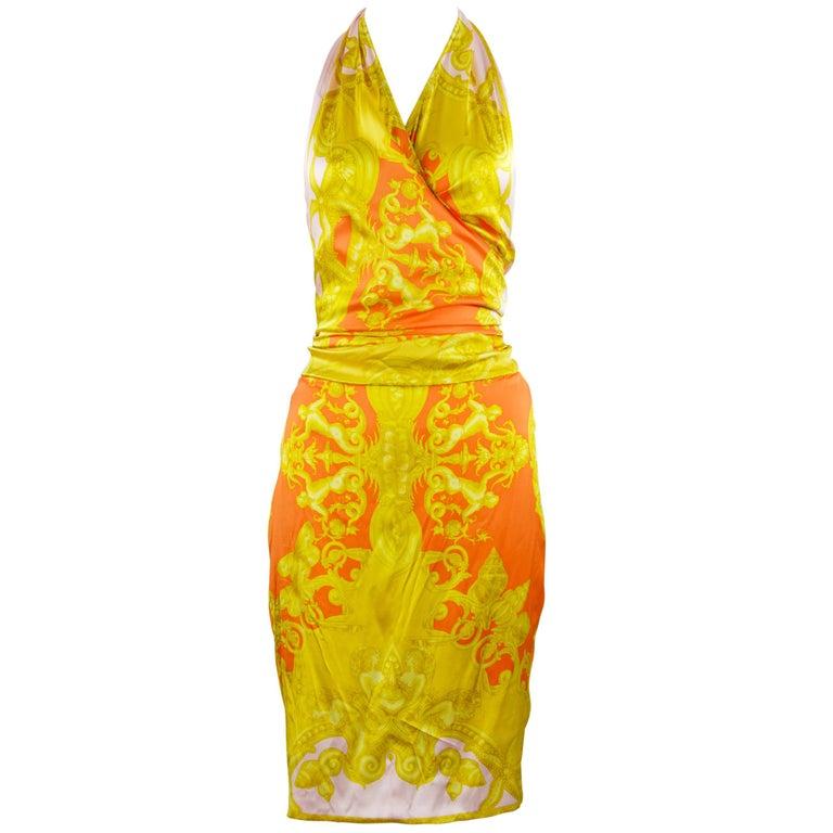 Versace Pink Orange Gold Silk Halter Dress  For Sale