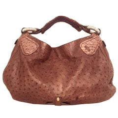 Nuti Taupe Sevillana Ostrich Leather Hobo Bag