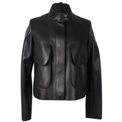 Hermes Jacket  Black. I Layered Lambskin Leather Clou de Sell.e Snaps 38 / 6 new