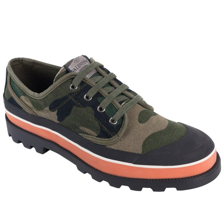 bf51c52c98a Valentino Mens Green Camouflage Canvas ID Low Top Sneakers For Sale ...